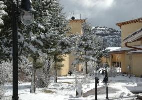 Vistas de las zonas exteriores nevadas