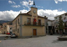 Zona centro con el Ayuntamiento de Navaluebga