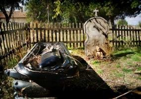 Vistas de los jardines con tumbas