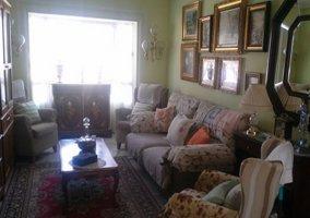Sala de estar con estufa y televisor de plasma