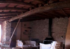 Sala de estar con chimenea de forja en negro