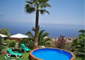 Vistas de la piscina compartida con hamacas de la zona de hamacas
