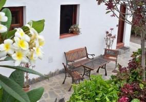 Vistas de la terraza con muchas flores de colores