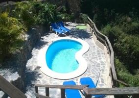 Vistas de la piscina junto a las tumbonas azules