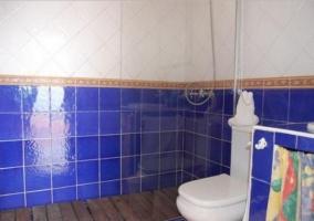Aseo de la casa en azul con ducha y mampara