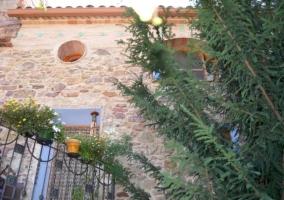 Vistas de la fachada y el patio con naturaleza