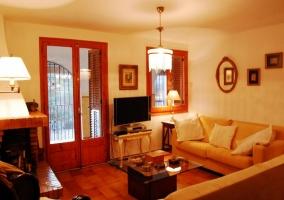 Sala de estar con la chimenea decorativa