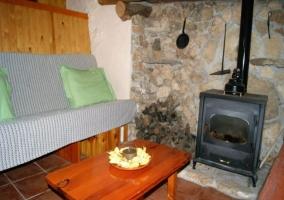 Sala de estar con la estufa encendida