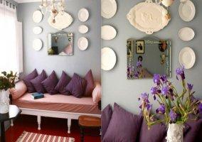 Sofá y decoración en morado