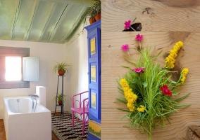 Bañera y detalles florales