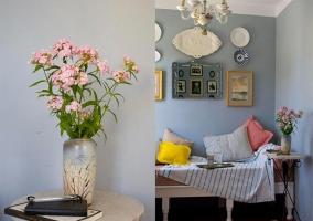 Decoración floral y tonos rosas