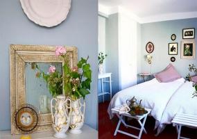 habitación doble y sus detalles en rosa y blanco