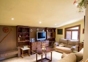 Sala de estar con sillones marrones y luz