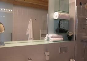 Aseo de la casa con ducha y secador