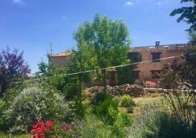Vistas de las zonas verdes con flores y el porche