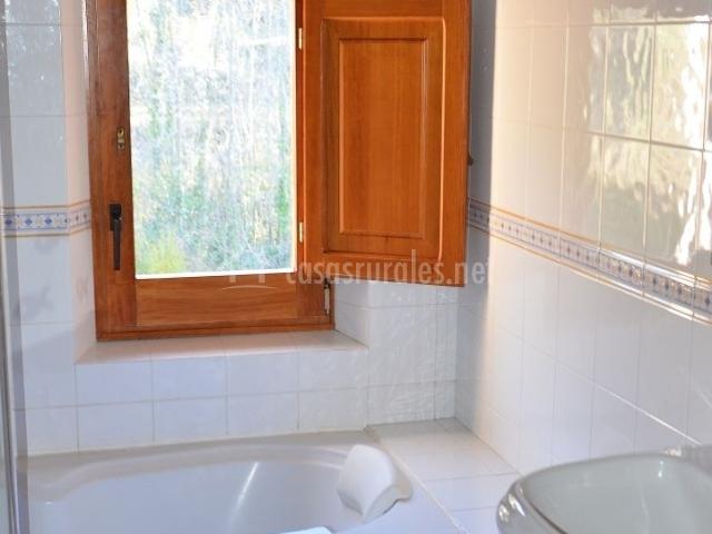 Aseo de la casa luminoso con bañera