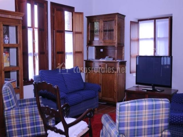Sala de estar en tonos marrones y azules