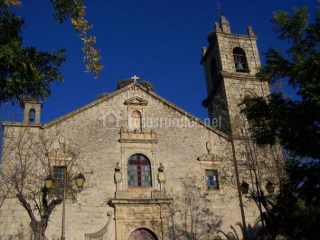 Zona del casco urbano con la iglesia parroquial