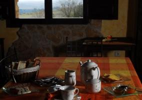 Salón comedor con chimenea y leña