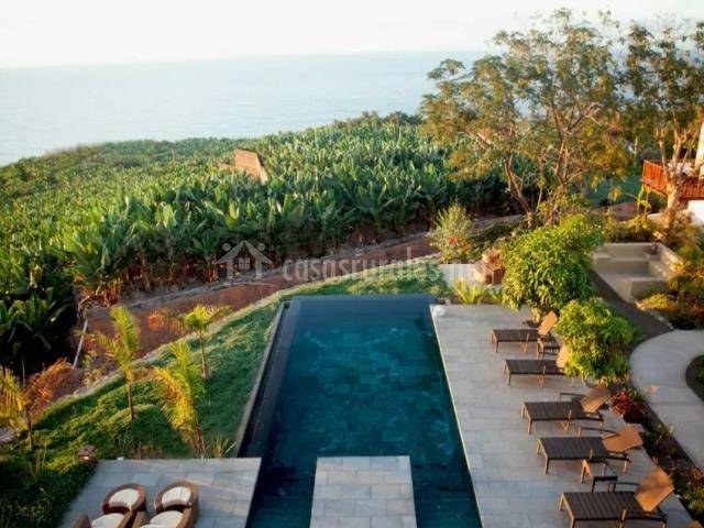 Amplias vistas de la piscina entre naturaleza