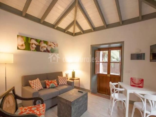 Sala de estar con muebles en blanco y gris
