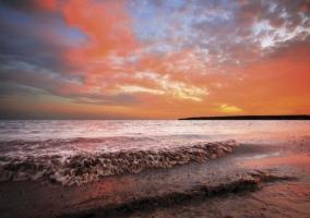 Zona de playas al atardecer
