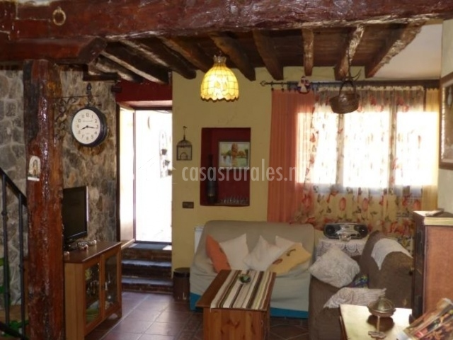 Sala de estar con paredes en piedra