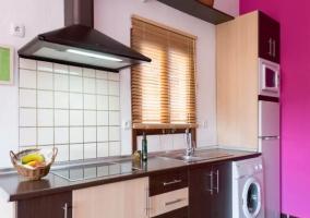 Cocina con nevera y lavadora