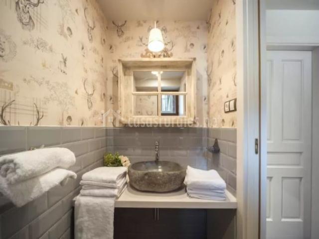 Aseo de la casa con papel pintado y toallas