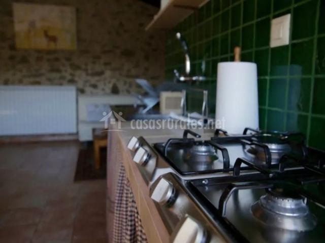 Cocina de la casa en verdes