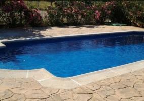 Amplia piscina con hamacas