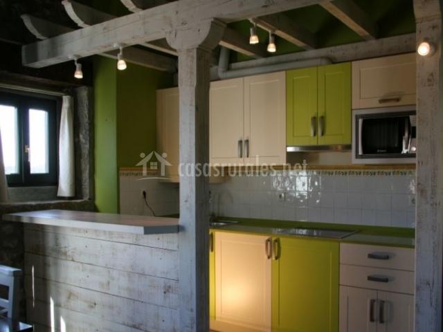 Cocina verde de la casa
