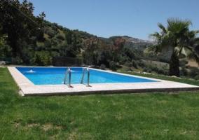 Acceso a la piscina con jardines