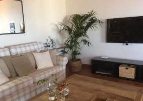 Sala de estar con televisor de plasma en el frente