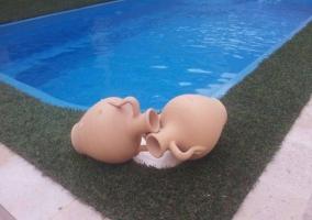 Vistas de la piscina decorada