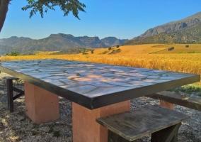 Vistas del terreno con la mesa