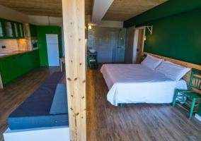 Sala de estar y el dormitorio
