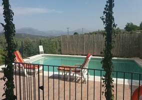 Amplias vistas de la piscina de la casa con hamacas