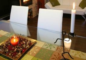 Cocina y su mesa de cristal
