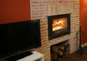 Sala de estar con chimenea encendida y tele