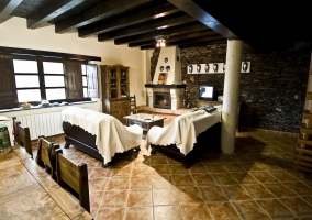 Salon comedor y chimenea