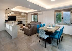 Sala de estar con chimenea y tele