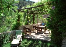 Tumbonas y mesas de la terraza
