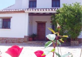 Flores rojas y entrada de la casa