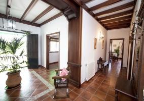 Entrada a la casa con detalles de plantas