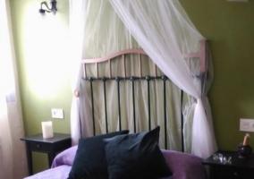 Dormitorio con cama de matrimonio y dosel