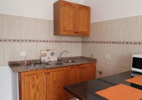Kitchen of the house with cupboards