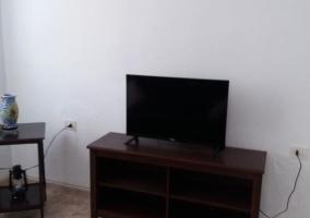 Sala de estar con mueble y tele de plasma