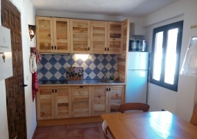 Complete kitchen with wooden furniture