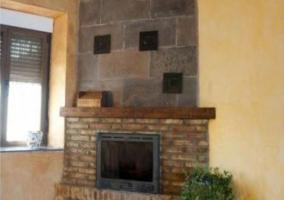 Sala de estar de la casa con chimenea y plantas